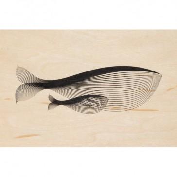 Carte postale souple en bois d'érable modèle Baleine par Woodhi