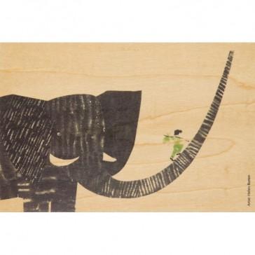 Carte postale en bois d'érable modèle Boy on Elephant par Woodhi