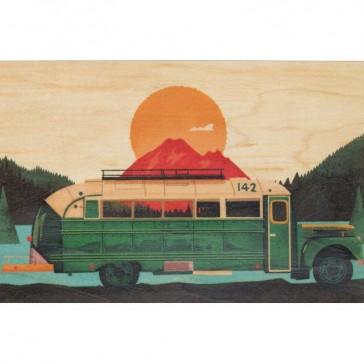 Carte postale souple en bois d'érable modèle travel bus par Woodhi