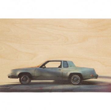 Carte postale en bois d'érable avec extrait de photo argentique représentant une voiture américaine par Woodhi