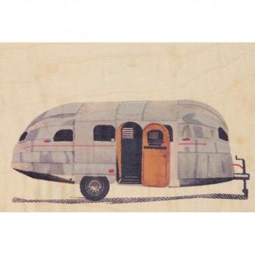 Carte postale souple en bois d'érable modèle avec une caravane par Woodhi