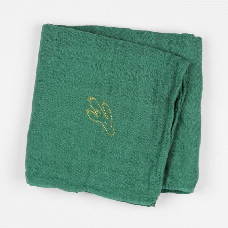 Lange en coton vert brodé d'un cactus par Barnabé aime le café