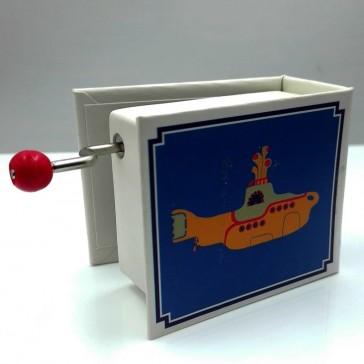 """Dos de la boîte à musique """"Yellow submarine"""" illustrée des Beatles par Protocol"""
