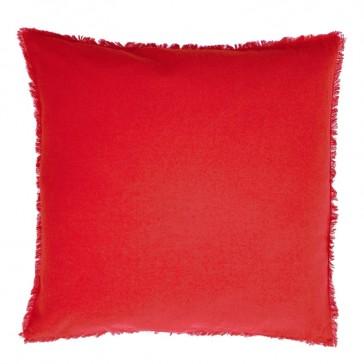 Grand coussin carré en coton uni rouge par Golden Threads Design