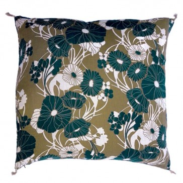 Grand coussin à fleurs vertes par Golden Threads Design