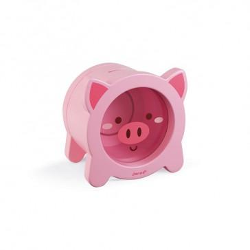 Tirelire pour enfant en forme de cochon rose par Janod