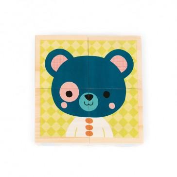 """Face """"Ours bleu"""" des cubes """"Mes premiers cubes"""", modèle Portraits de la Forêt de la marque Janod"""