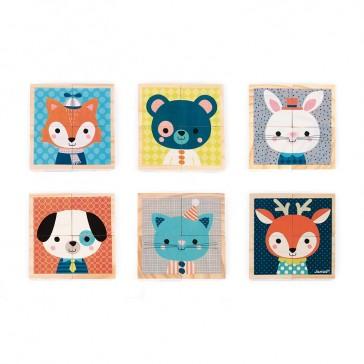 Les différentes faces du jeu de cubes Mes premiers cubes, Portraits de la forêt par Janod