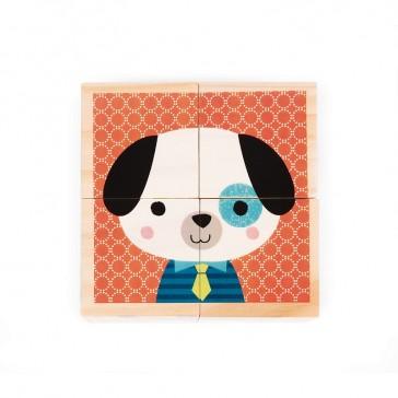 Face Chien du jeu de cubes Mes Premiers cubes, modèle Portraits de la Forêt par Janod