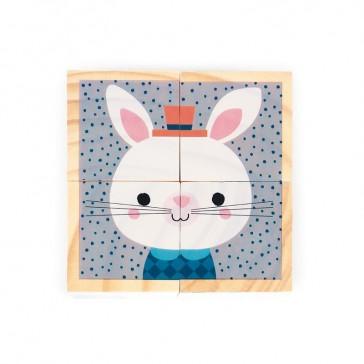 Face Lapin blanc, Mes premiers cubes modèle Portraits de la forêt de la marque Janod