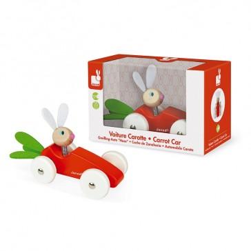 Voiture en bois Carotte conduite par son lapin, de la marque française Janod