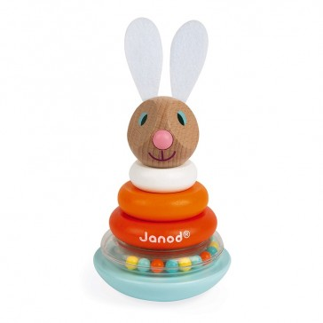 """Jouet éducatif en bois """"Empilable culbuto lapin"""" par Janod"""