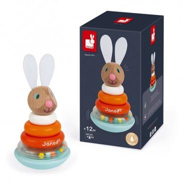 Petit jouet pour enfant orange et tête de lapin par Janod