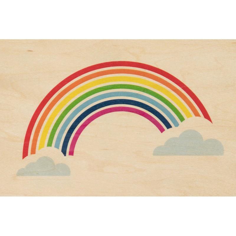 Carte postale en bois d'érable représentant un arc-en-ciel de Miami par Jonathan Ady pour Woodhi