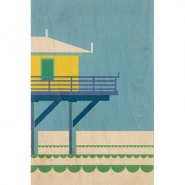 Carte postale en bois d'érable représentant la plage de Miami par Woodhi
