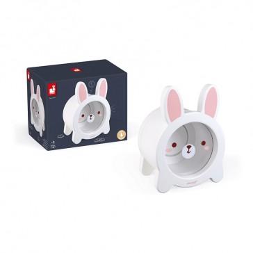 Tirelire en bois pour enfant en forme de lapin blanc de la marque Janod
