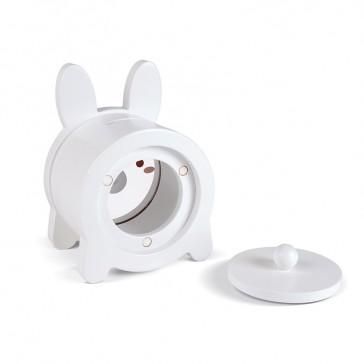 Tirelire en bois en forme de lapin avec ouverture magnétique à l'arrière par Janod