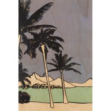 Carte postale en bois d'érable avec des palmiers de la collection Miami par Woodhi