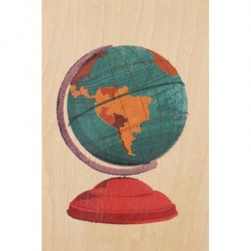 """Carte postale en bois d'érable """"Globe"""" par Woodhi"""
