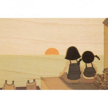 """Carte postale en bois d'érable """"Sunset"""" avec deux enfants regardant le soleil couchant par Woodhi"""