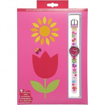 """Montre pédagogique avec livret d'apprentissage """"Tulipe"""" par Baby Watch"""