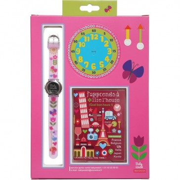 Montre d'apprentissage pour petite fille, avec des fleurs roses, papillons et coeurs de la marque Baby Watch