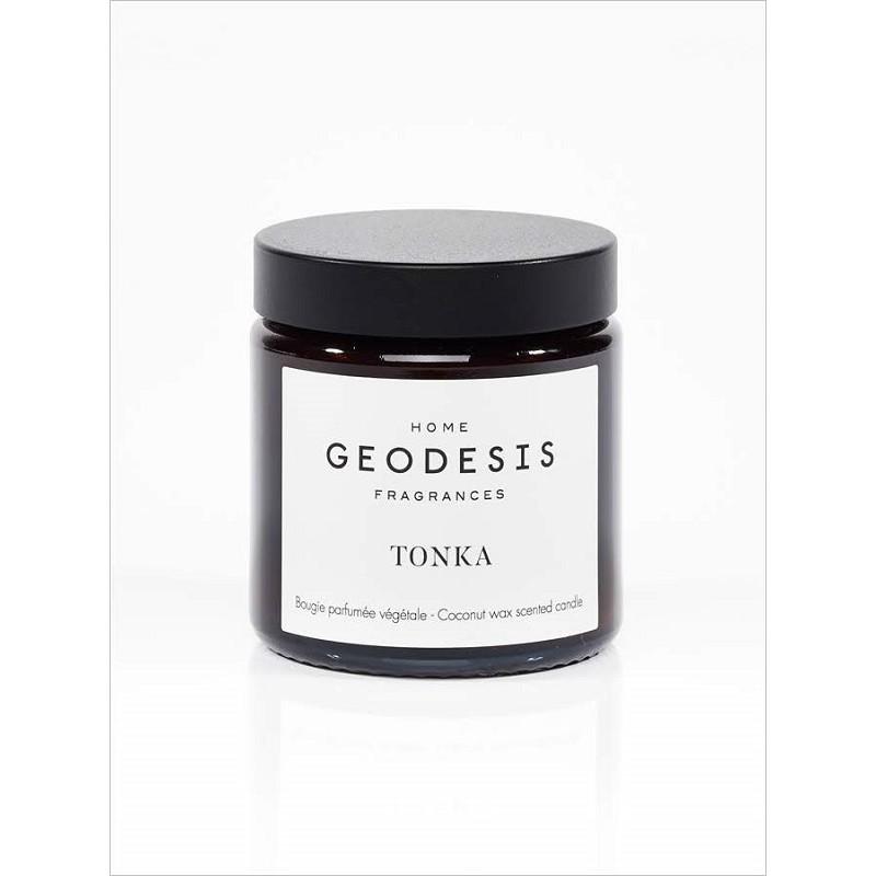 Bougie en cire végétale d'huile de coco, parfum Tonka, par Geodesis