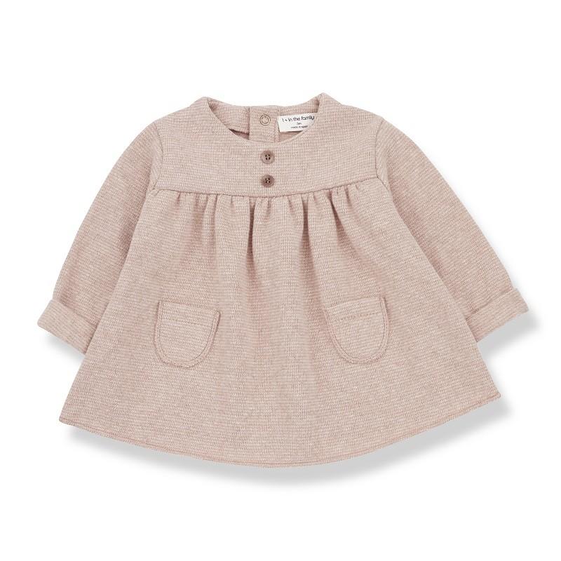 """Robe """"Chardonnet"""" rose poudré pour bébé par 1 + in the family"""