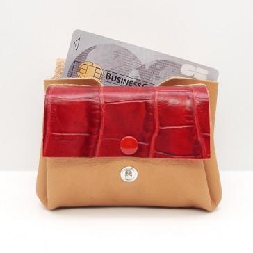 Porte monnaie en cuir recyclé naturel et rouge, par Bandit Manchot