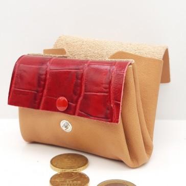 Porte-monnaie des familles en cuir couleur naturelle et rouge par Bandit Manchot