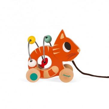 """Petit chat roux à tirer """"Mini Looping"""" par Janod"""