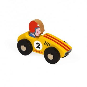 """Petite voiture en bois pour bébé """"Story racing"""", modèle jaune, par Janod"""