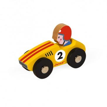 """Voiture en bois """"Story racing jaune"""" par Janod"""