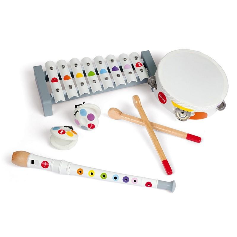 Ensemble de 4 instruments de musique différents pour enfant par Janod
