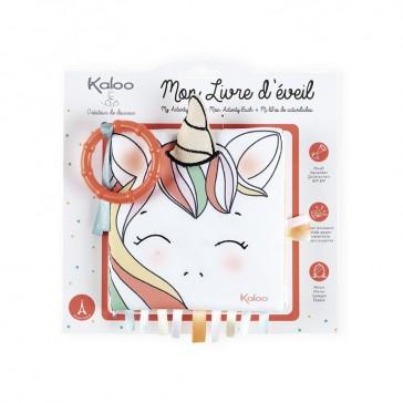 """Packaging du livre d'éveil """"La licorne joyeuse"""" par Kaloo"""