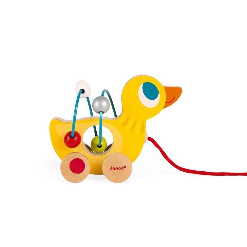 """Canard jaune en bois à tirer """"Mini Looping"""" par Janod"""