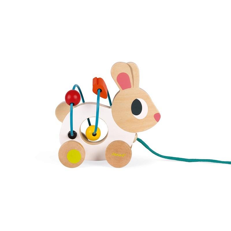 "Lapin blanc en bois à tirer ""Mini Looping"" par Janod"