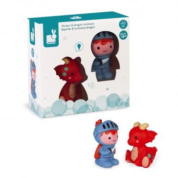 """Packaging du jouet de bain """"Gicleur Prince et dragon lumineux"""" par Janod"""
