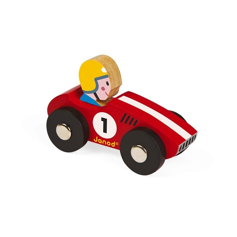 """Ma première mini voiture en bois """"Story racing rouge"""" par Janod"""
