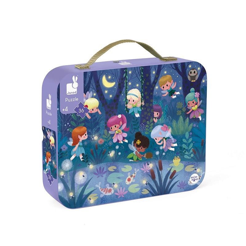 """Puzzle pour enfant """"Fées et nénuphars"""" par Janod dans sa valisette de transport en carton"""