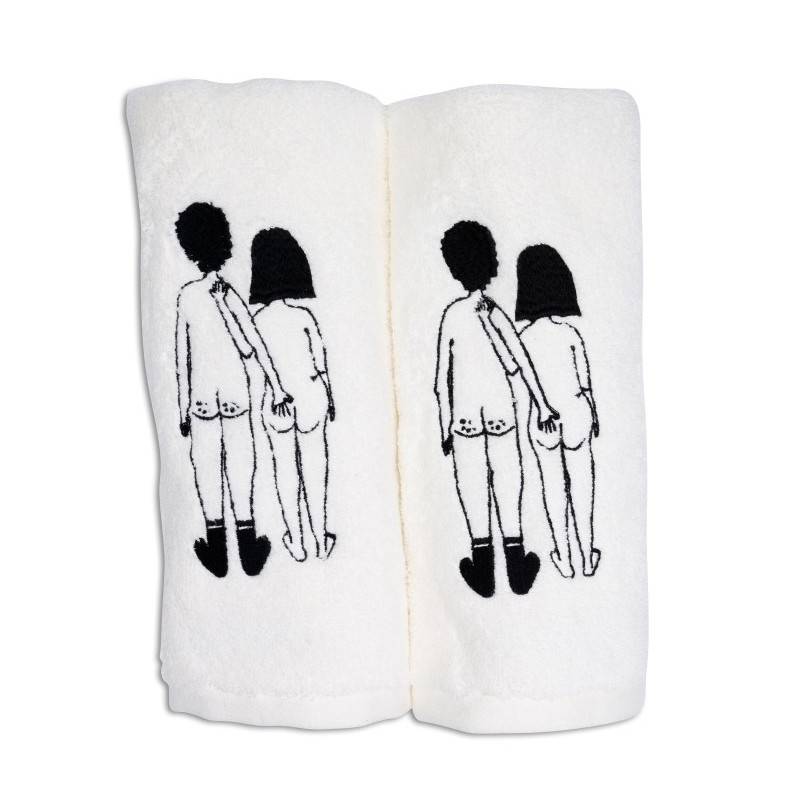 """Set de deux serviettes d'invité en coton """"Naked couple back"""" par helen b"""