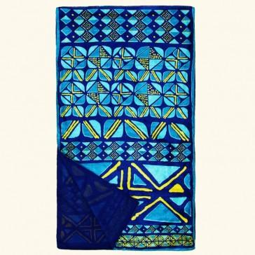 Grande étole bleue en soie, par La Fiancée du Mékong