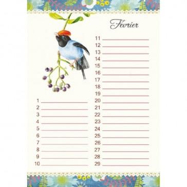 Intérieur du cahier perpétuel oiseaux pour notre les anniversaires de ses proches par Gwenaelle Trolez