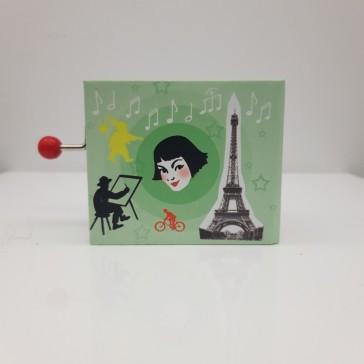 """Petite boite à musique avec manivelle jouant la musique du film """"Amélie Poulain"""" par Protocol"""