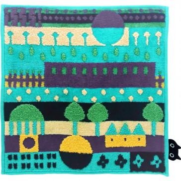 "Petite serviette éponge fond bleu ""Village"" par Atsuko Matano"