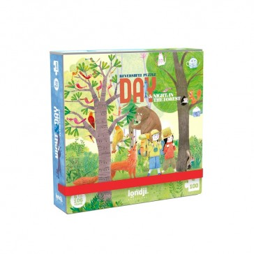 """Puzzle de poche réversible """"Day and night in the forest"""" par Londji"""