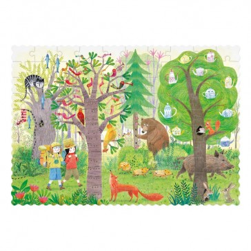 """Petit puzzle à transporter réversible """"jour et nuit dans la forêt"""" par Londji"""