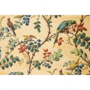 """Carte postale en bois d'érable """"Papiers peints perroquet"""" par Woodhi"""