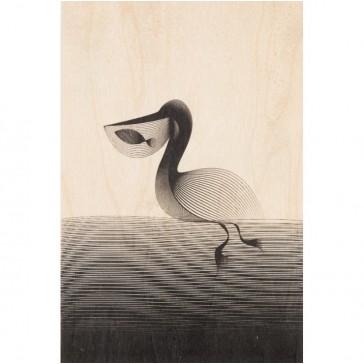 """Carte postale en bois d'érable """"Pélican"""" par Woodhi"""