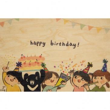 """Carte postale en bois d'érable """"Happy Birthday"""" par Woodhi"""